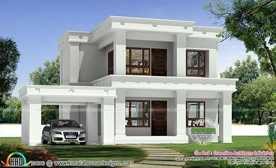 1494 Square Feet 3 Bedroom Flat Roof Home Flat Roof House Designs Flat Roof House House Front Design