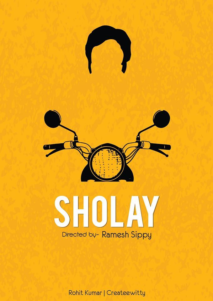 Abstract minimal poster on movie sholay amitabh bachchan for Art minimal facebook
