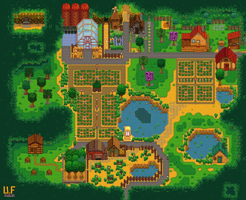 Started A New Forest Farm Got No Idea What To Put On The Right Bottom Any Suggestions Farmsofsta Stardew Valley Farms Stardew Valley Stardew Valley Layout