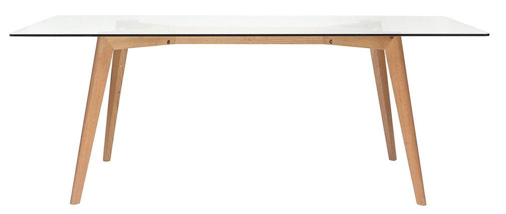 Tavolo da pranzo design rettangolare con ripiano in vetro ...