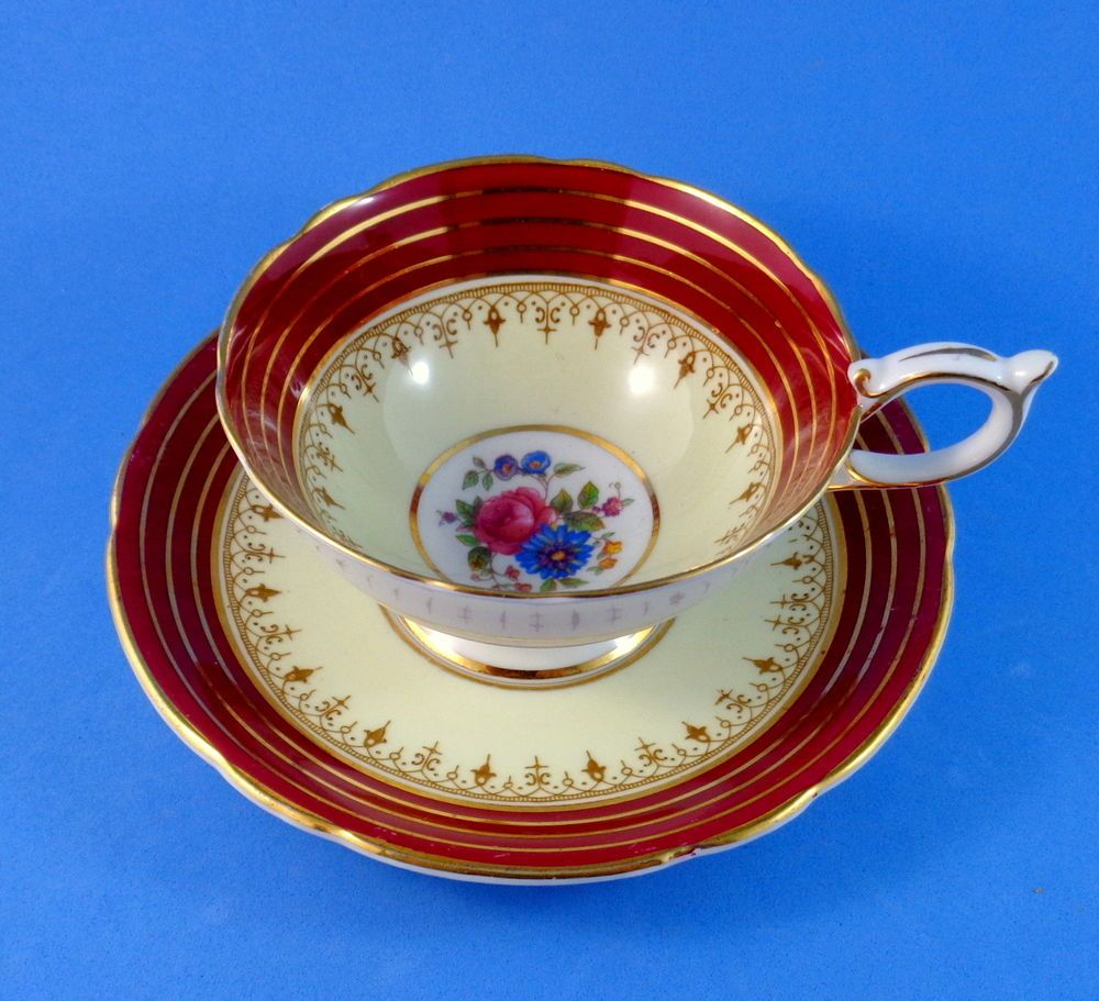 Burgundy Border with Floral Center Aynsley Tea Cup and Saucer Set