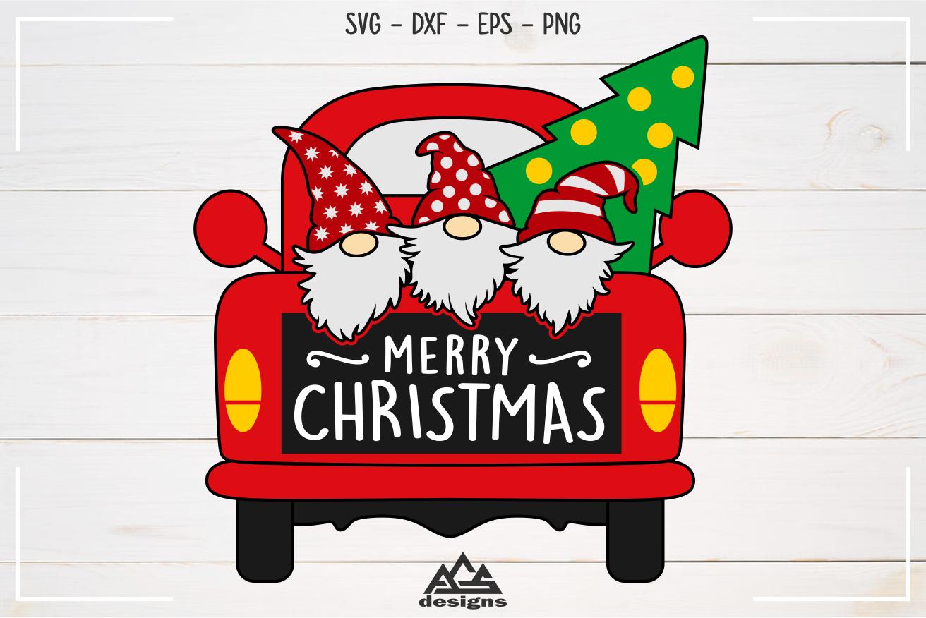 Merry Christmas Gnome Truck Svg Design Christmas gnome