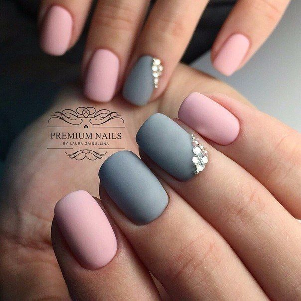 Matte Simple Elegant Nail Art Pink And Grey With Jewels Nails