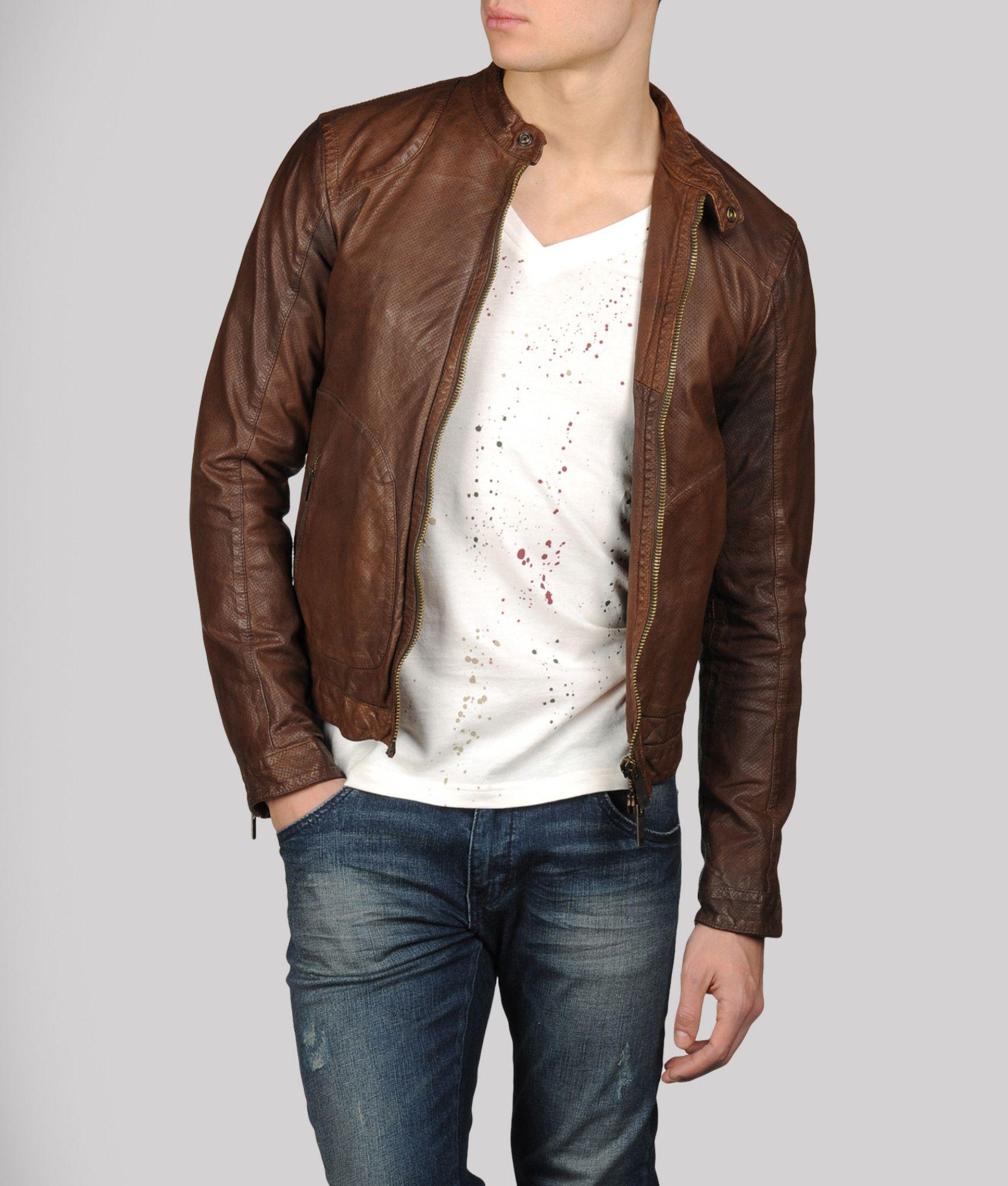 Armani Jeans Leather jacket Style Homme, Blouson Cuir, Mode Homme, Veste En  Cuir 55f16980f4b