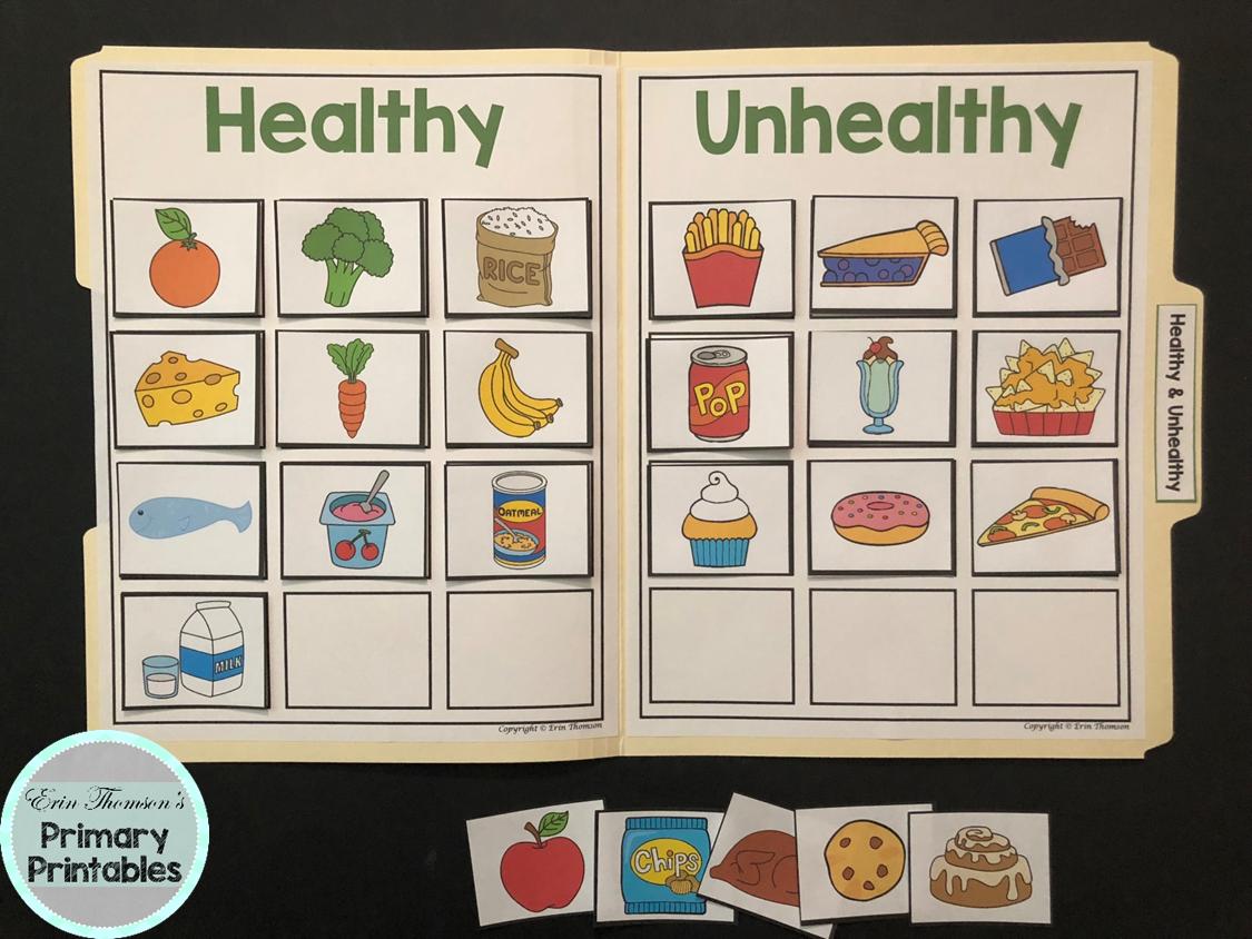Science File Folder Activity ~ Gesund und ungesund   – Healthy and unhealthy food