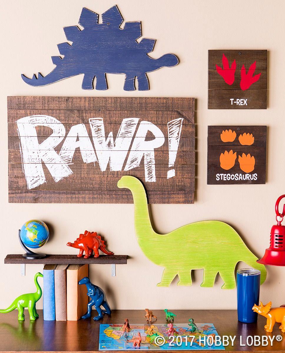 This Darling Dino Decor Is Perfect For Any Little Explorer S Space Dinosaur Room Decor Dinosaur Decor Bedroom Dinosaur Boys Room