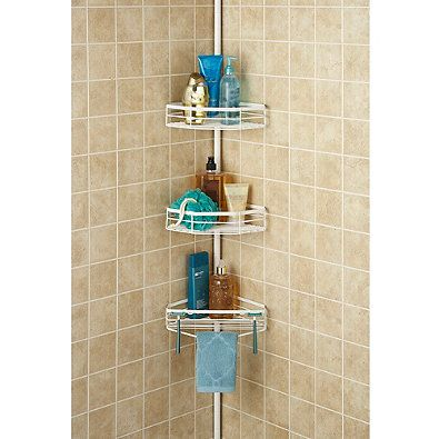 Oversized 3-Tier Pole Shower Caddy in White | home | Pinterest ...