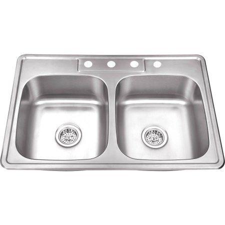 Home Improvement Double Bowl Kitchen Sink Top Mount Kitchen