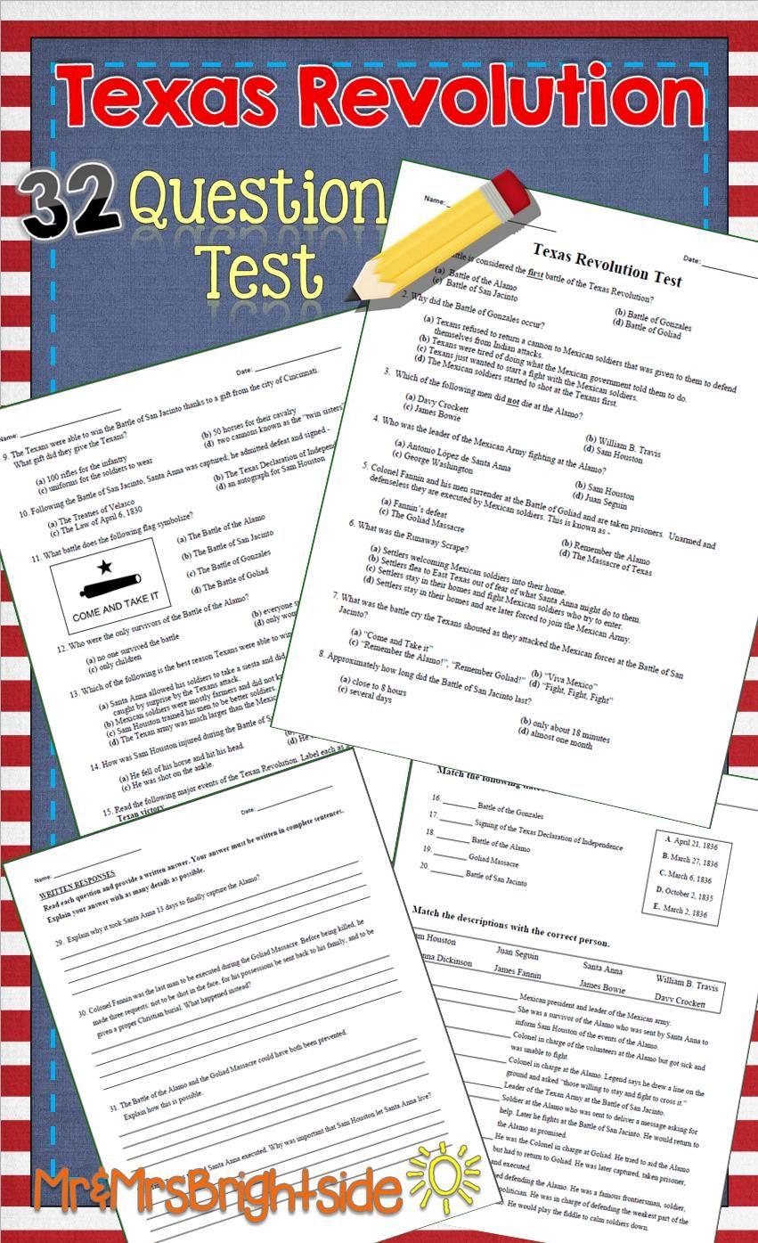 Texas Revolution Test | Texas revolution, Multiple choice and Revolution