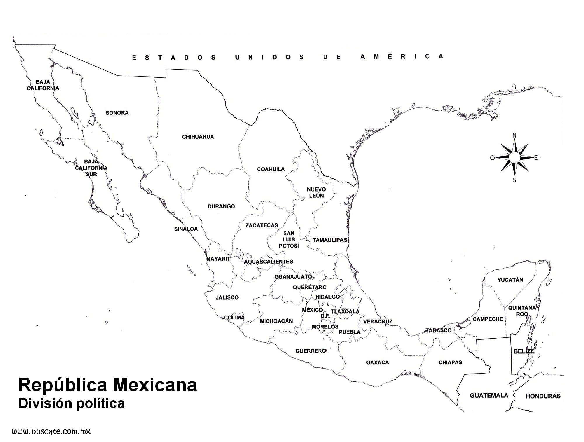 Mexico Mapa De Mexico Estados Y Capitales Mapa Mexico Con Nombres