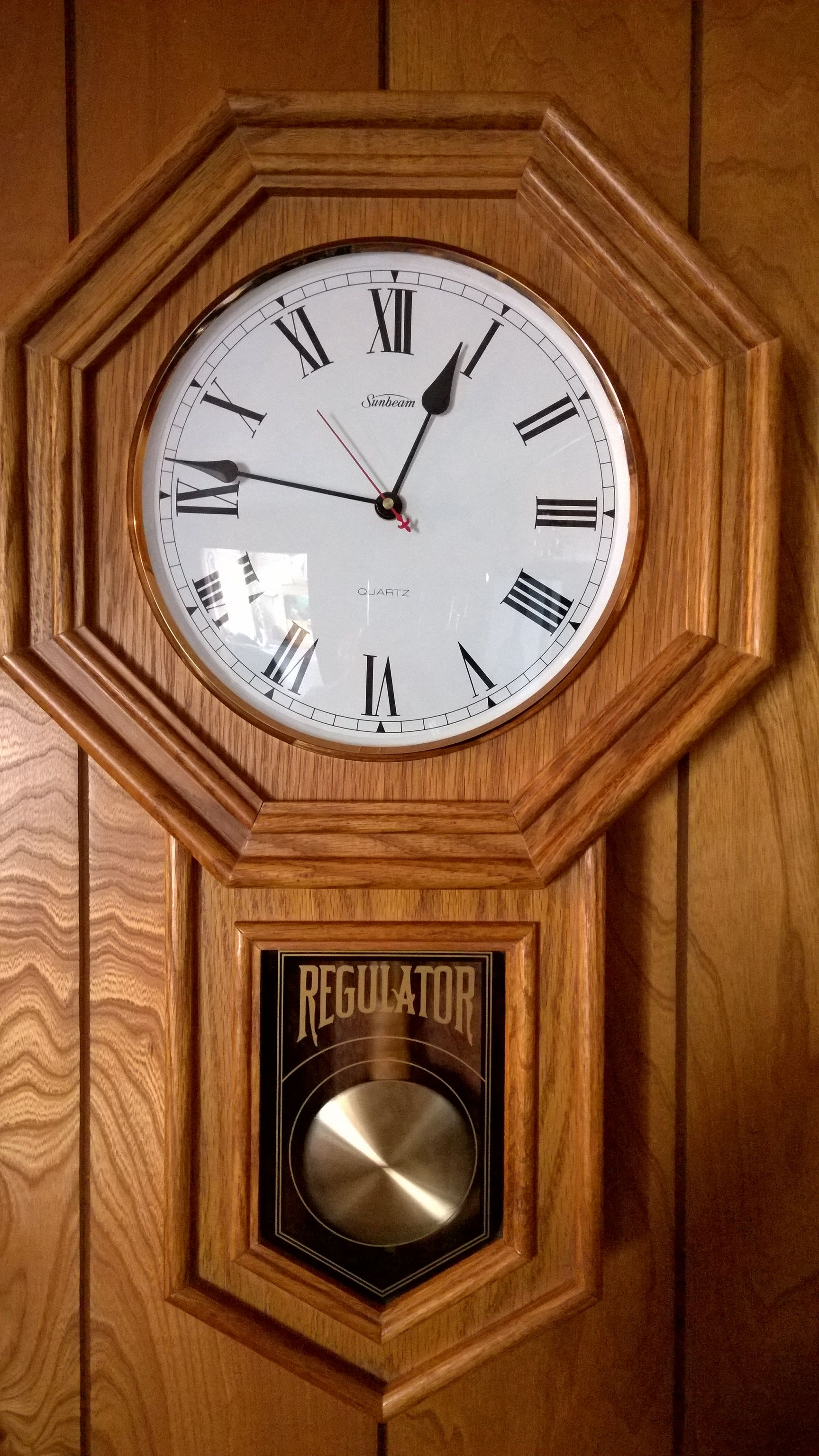 Saless garage wood clocks wall clocks and clocks vintage sunbeam 24 quartz regulator wall clock oak wood in saless garage sale amipublicfo Choice Image