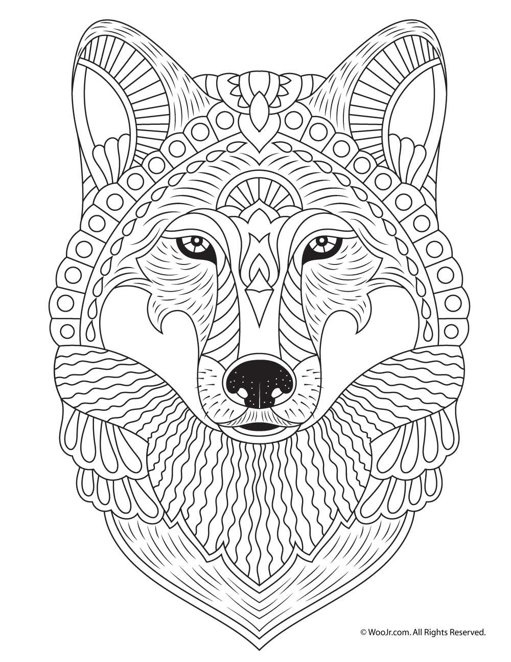 Wolf Adult Coloring Page (With images) | Animal coloring ... | mandala coloring pages for adults animals