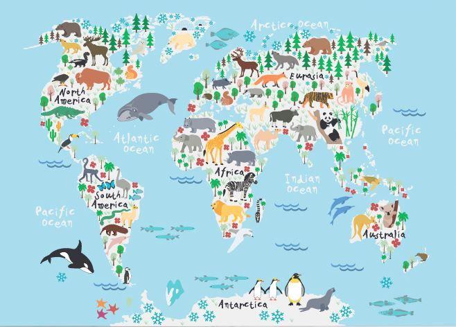 Animal World Map PrintWorld Map PosterWorld Map Paintingkids - Kids world map poster