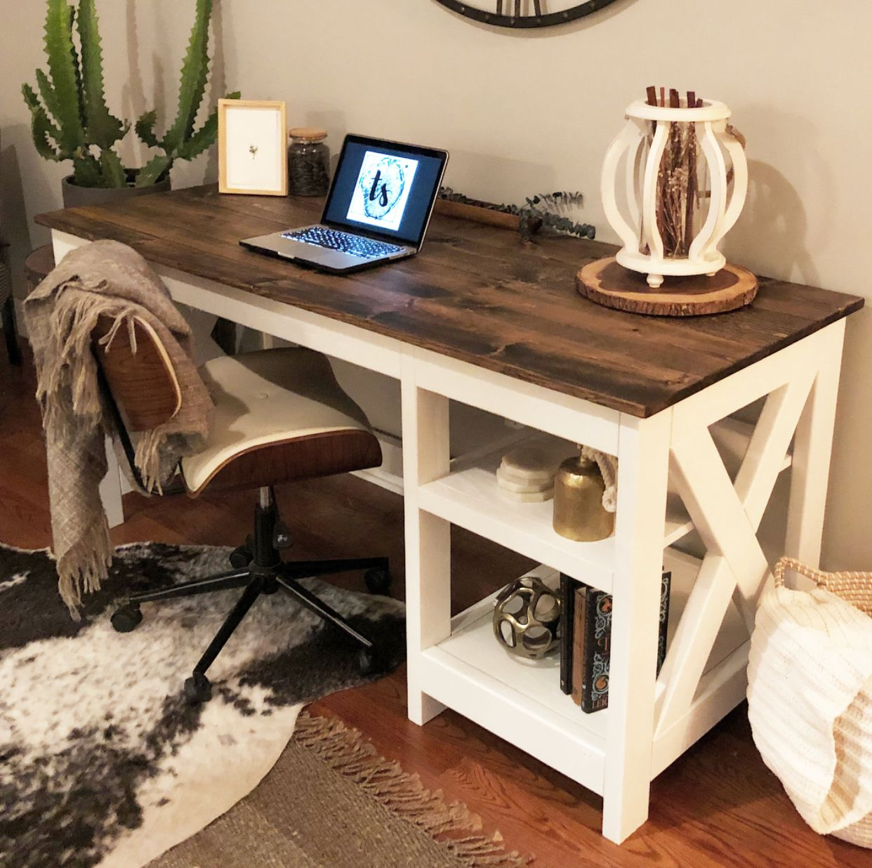 Farmhouse X Office Desk Rustic Home Offices Home Office