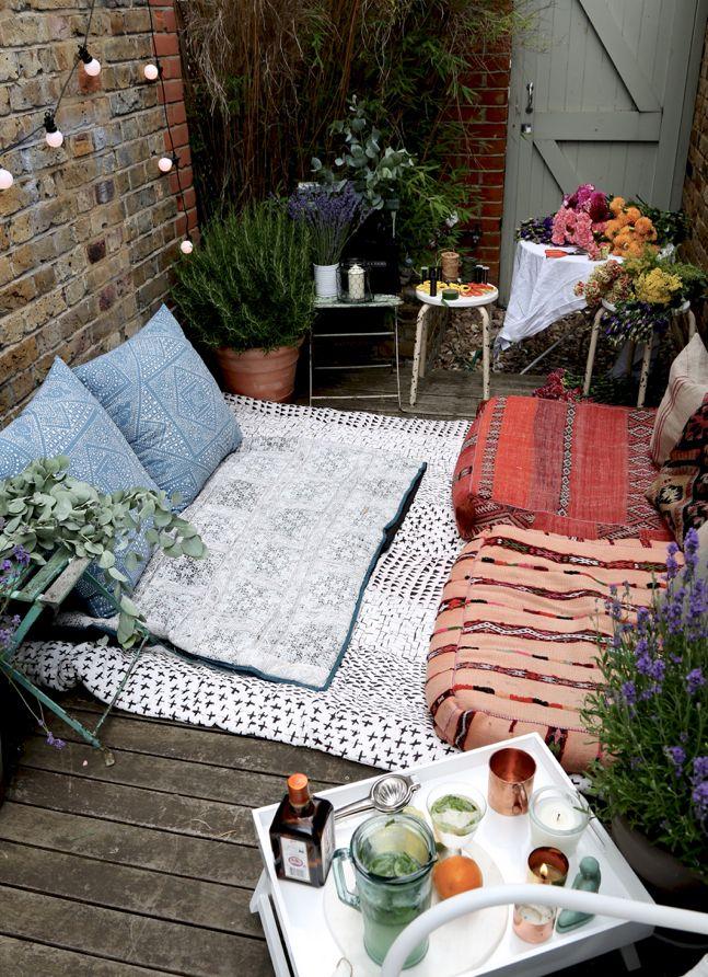 mein sch ner garten im boho style ideen rund ums haus pinterest balkon garten und terrasse. Black Bedroom Furniture Sets. Home Design Ideas