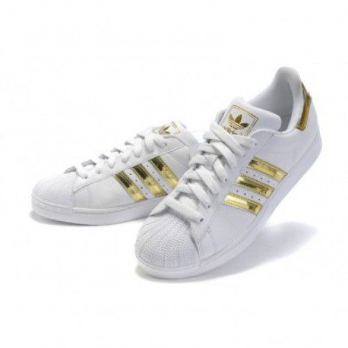 Popular Adidas Superstar Womens White with Gold Color Shoes Hot Sale