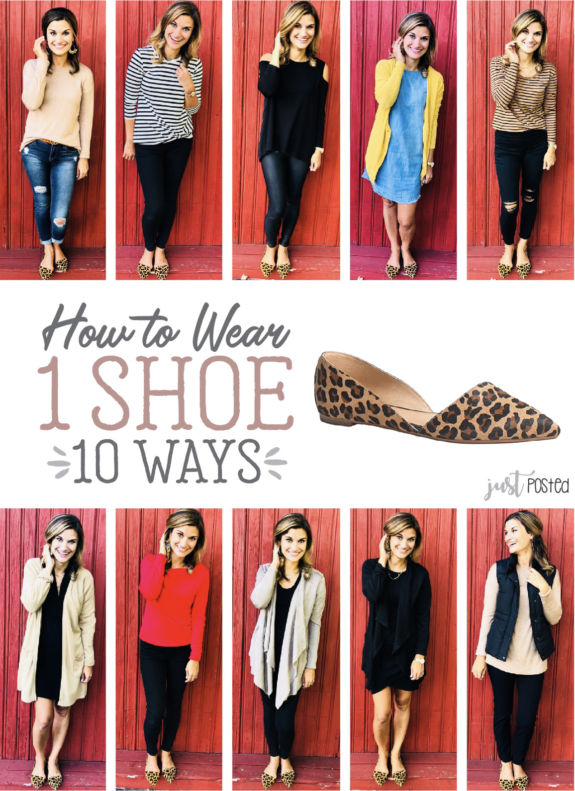 How to wear one leopard shoe 10 different ways! Also linked in the post are several other great leopard shoes at every price range! #howtowear