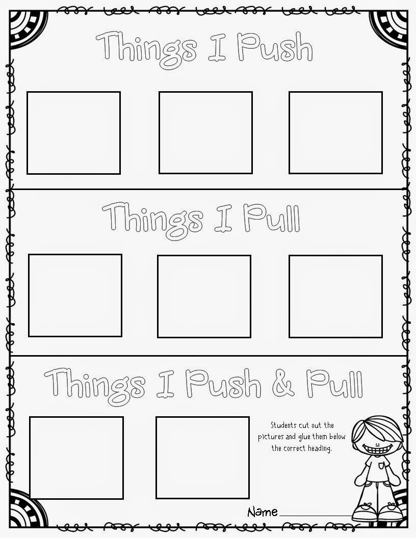 worksheet Push And Pull Worksheets For Kindergarten freebie use these 33 push and pull cards for sorting categorizing or active engagement games kindergartenklub com pinterest ac