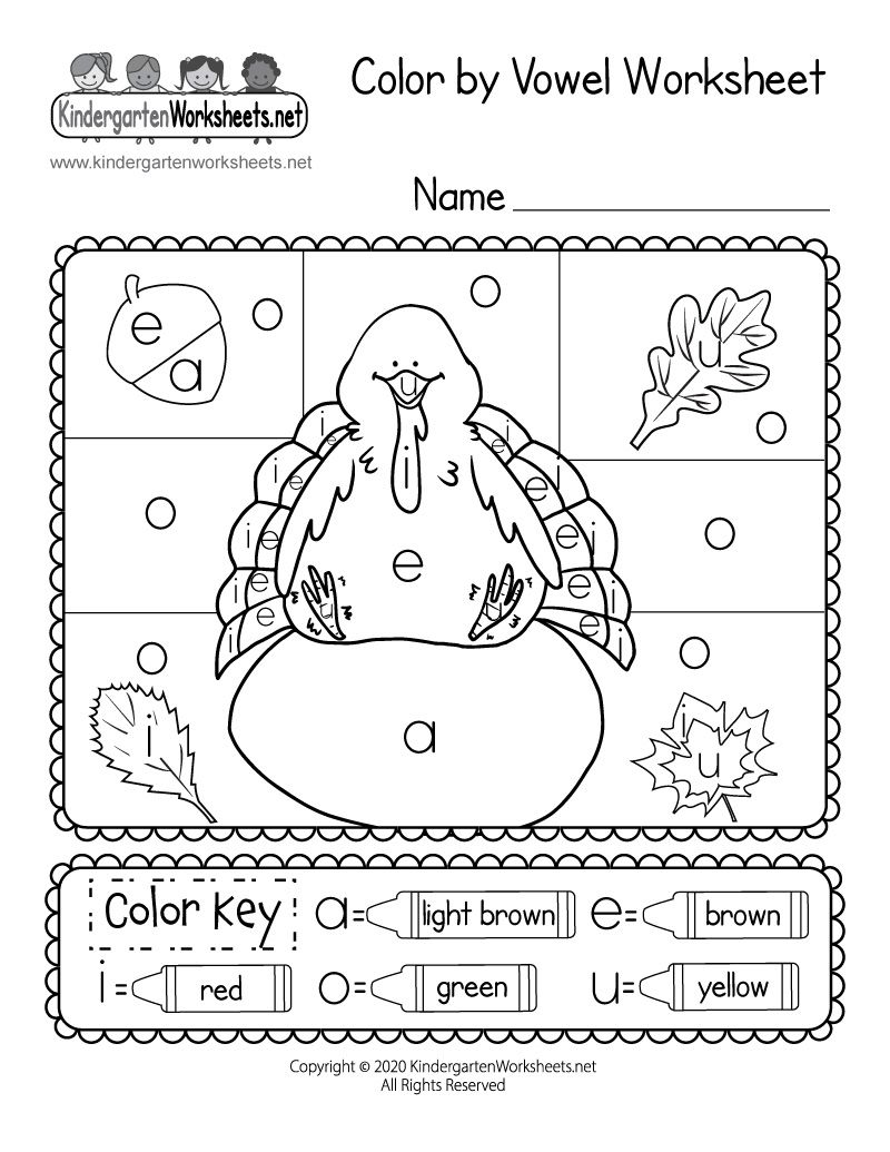 Kindergarten Thanksgiving Color By Vowel Worksheet Thanksgiving Kindergarten Vowel Worksheets Thanksgiving Worksheets