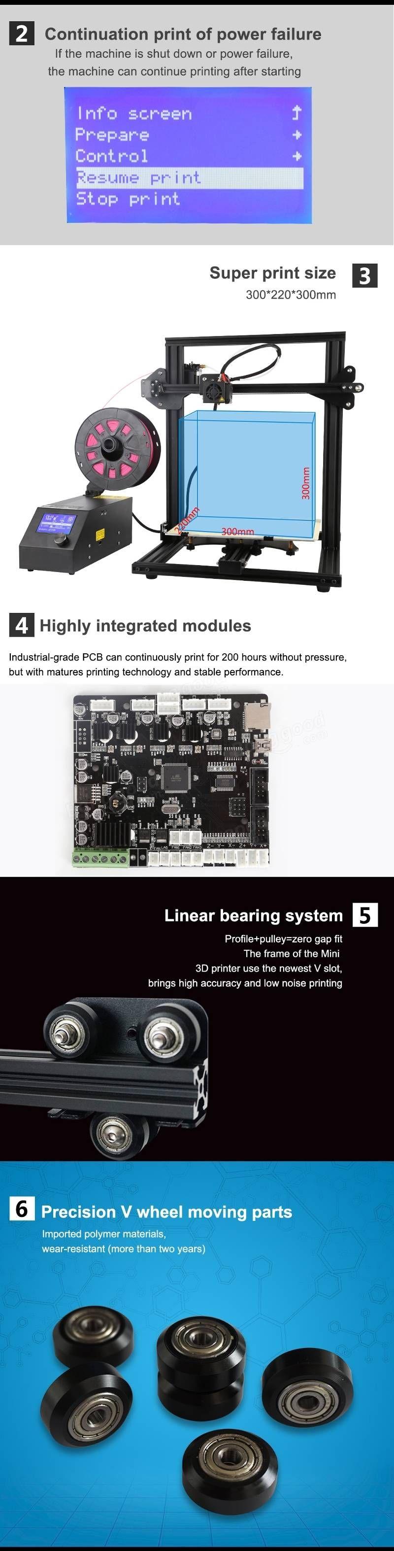 cv afdrukken Creality 3D® CR 10 Mini DIY 3D Printer Kit Support Resume Print