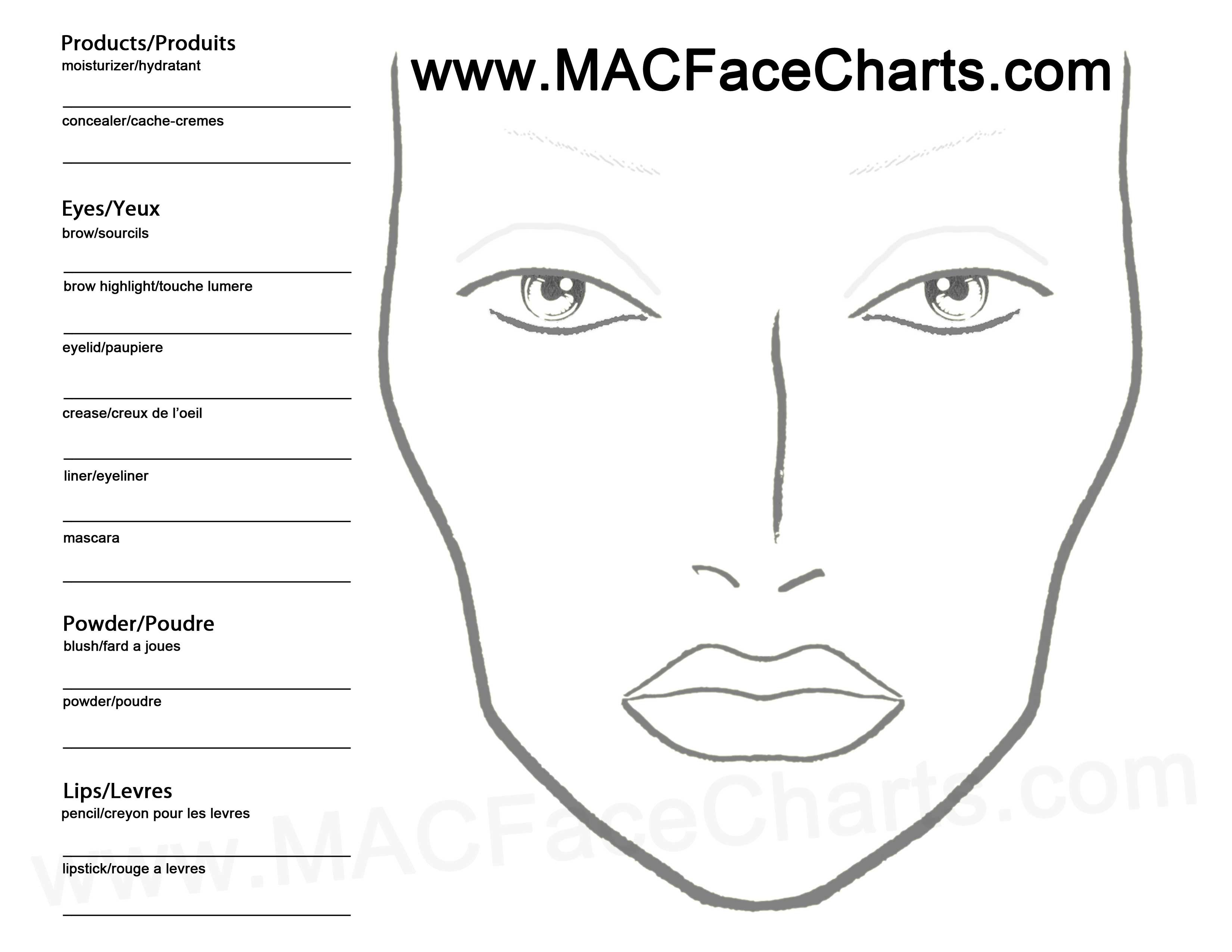 Use this face chart to create your own looks Dont forget to mark – Blank T Chart
