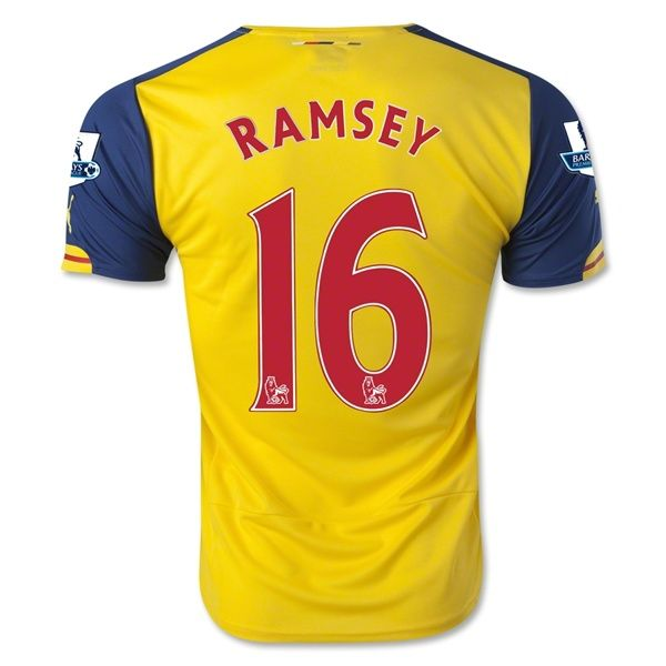 3407df28daf Men s 2014 15 Arsenal Aaron Ramsey 16 Away Soccer Jersey