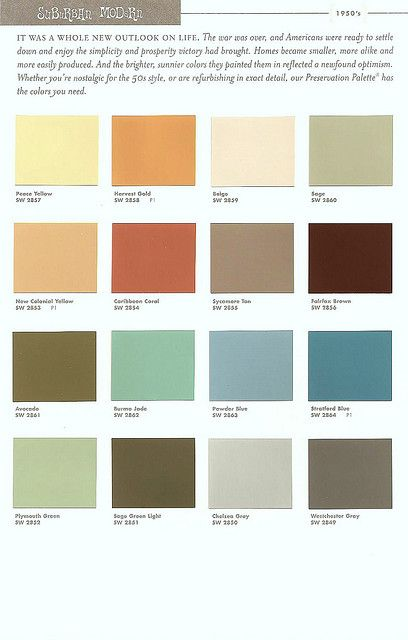 Sherwin williams color preservation palettes retro 1950 39 s - Sherwin williams exterior paint colors chart ...