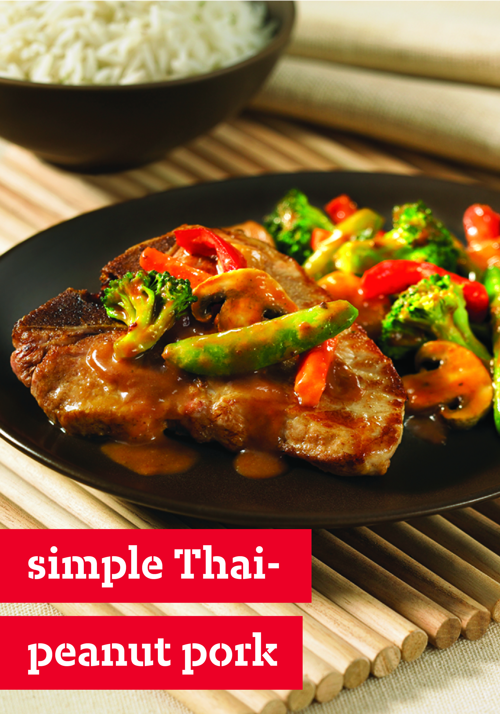 Simple Thai-Peanut Pork – Enjoy takeout-style pork chops—in less time than delivery would take! This Simple Thai-Peanut Pork recipe is ready for the dinner table in less than 20 minutes.