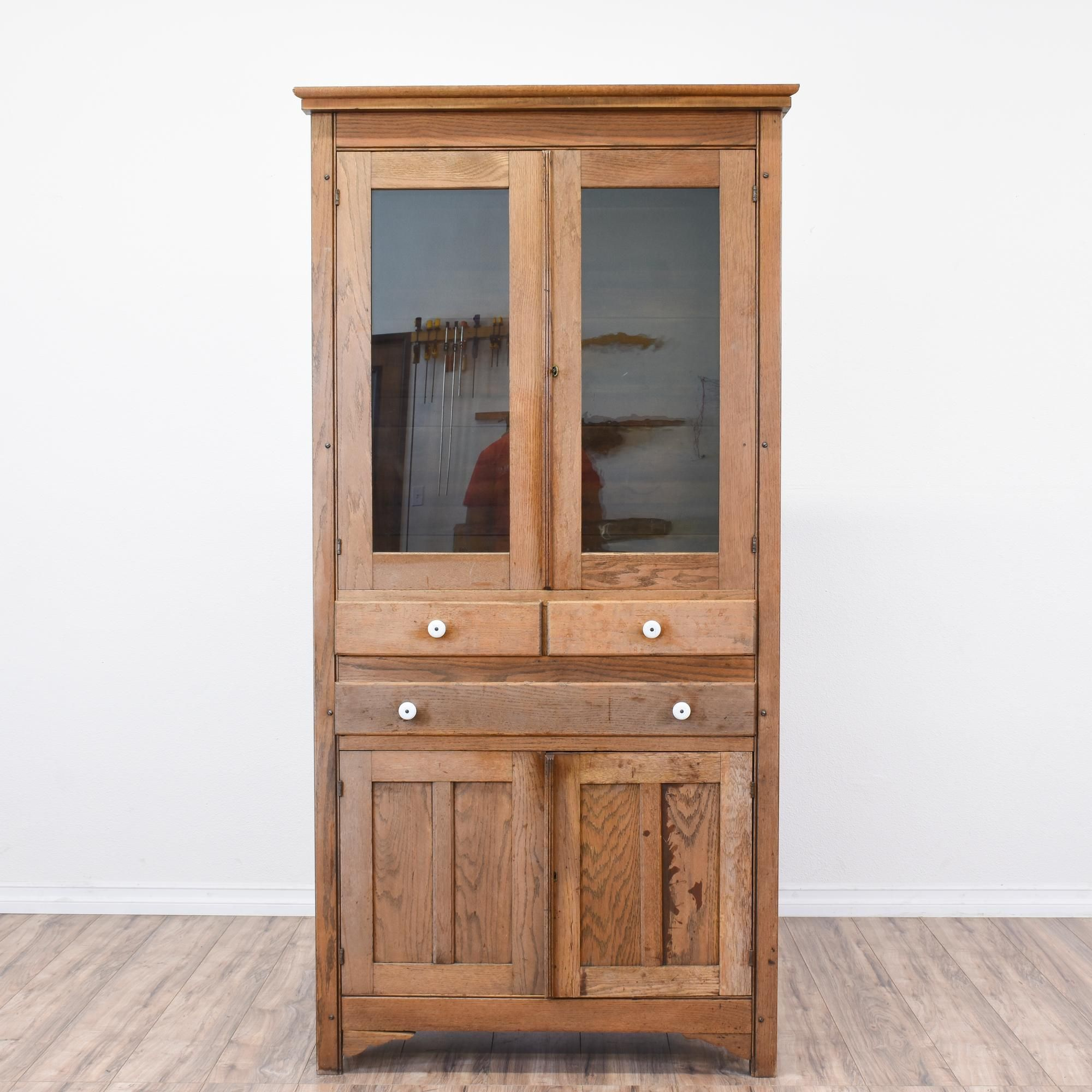 This Rustic Antique China Cabinet Is Featured In A Solid Wood With Raw Oak Finish Tall Hutch Great Condition 3 Large Silverware