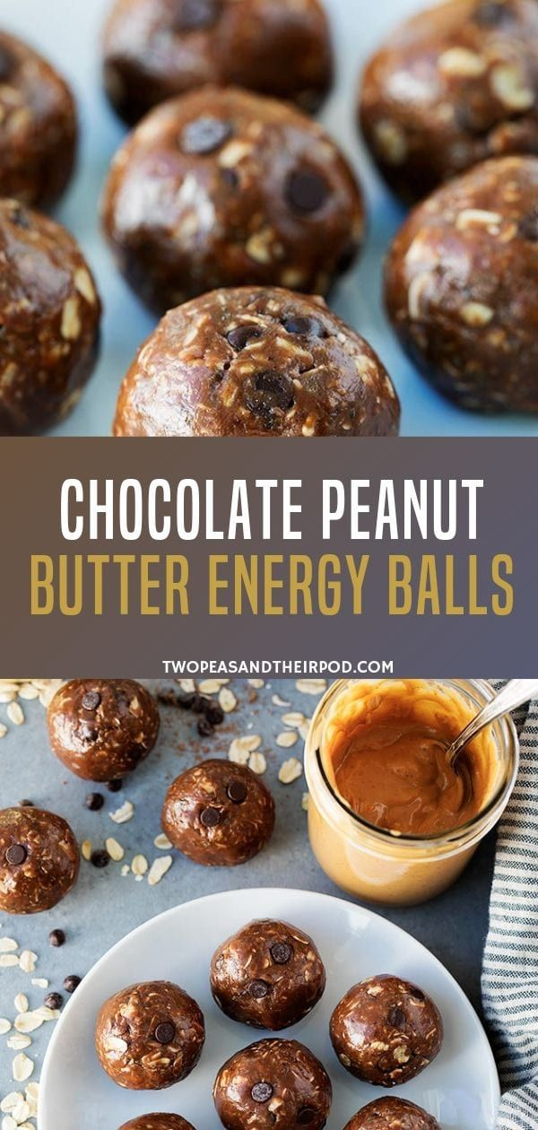 Chocolate Peanut Butter Energy Balls - Two Peas & Their Pod