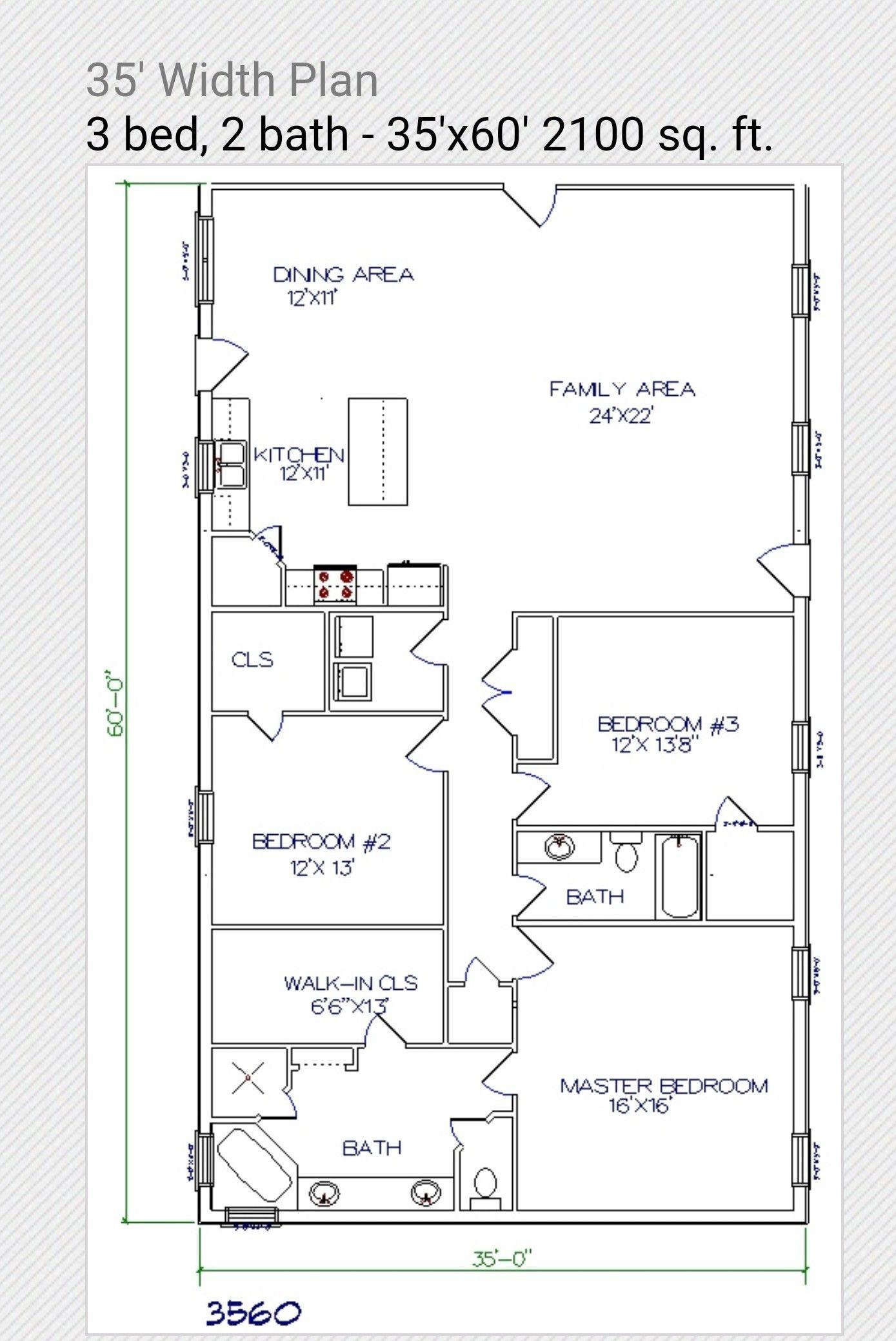 35x60 Floor Plan New House Plans Floor Plans Barn Style House
