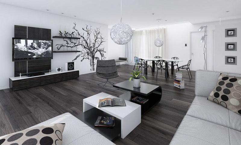wohnzimmer schwarz weiß mit modernen esszimmerstühlen schwarz und ...