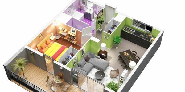 Plan détage avec terrasse