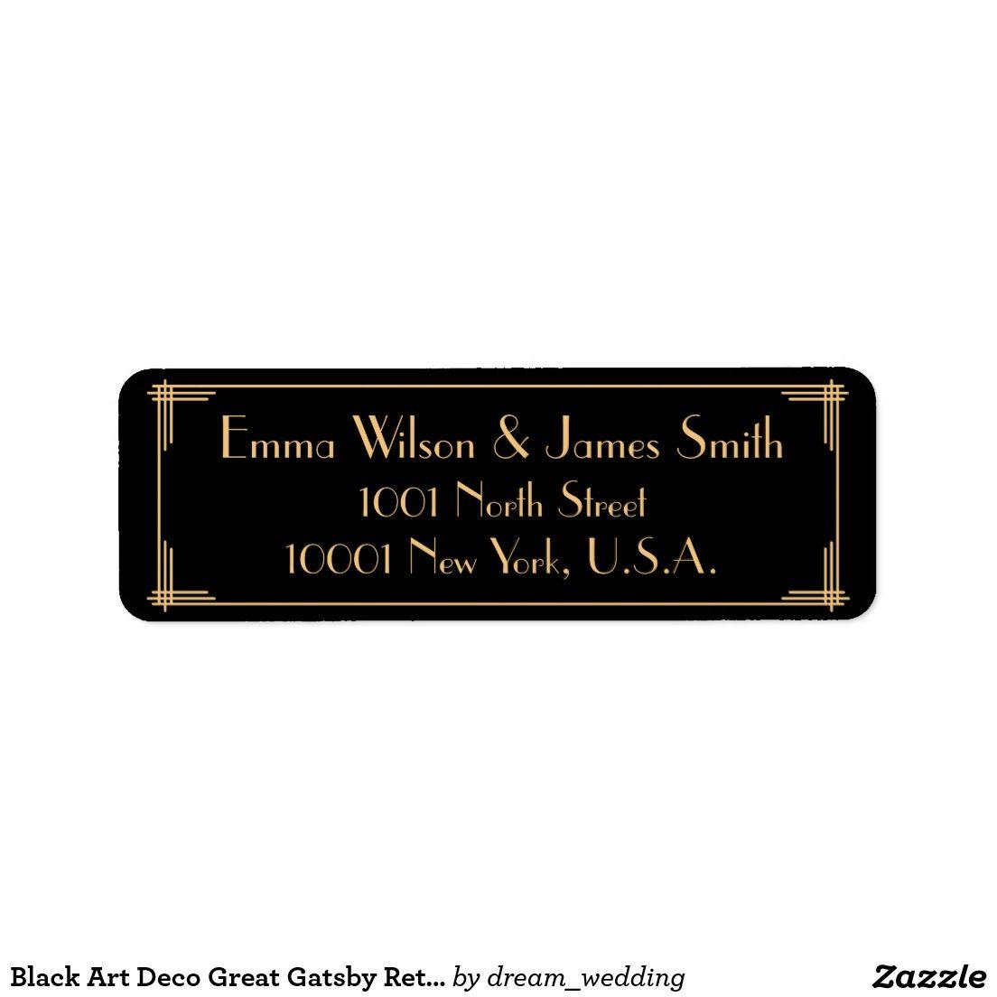 Black Art Deco Great Gatsby Return Address Labels