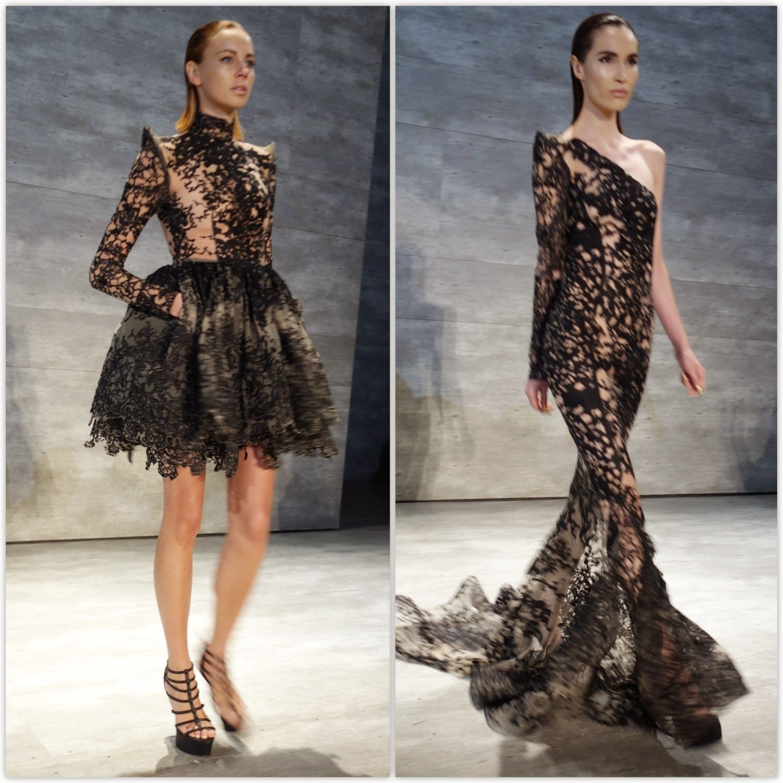 Michael Costello Black #Lace #Cocktail #dress and #gown Fashion Show Spring/Summer 2015