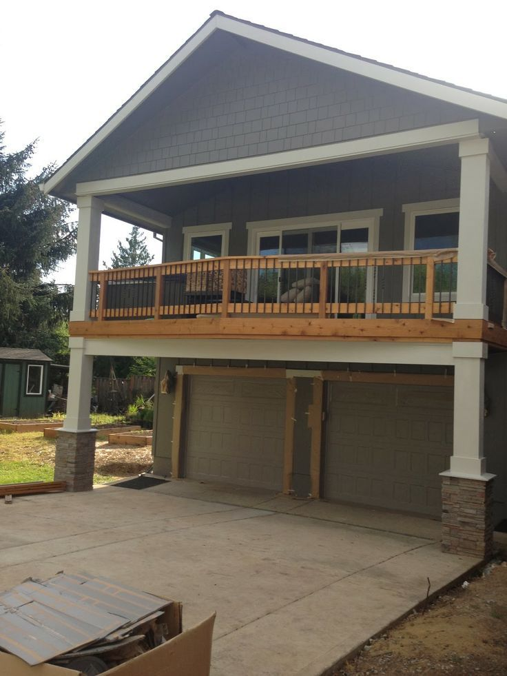 Deck over garage google search home exterior for Front entry decks