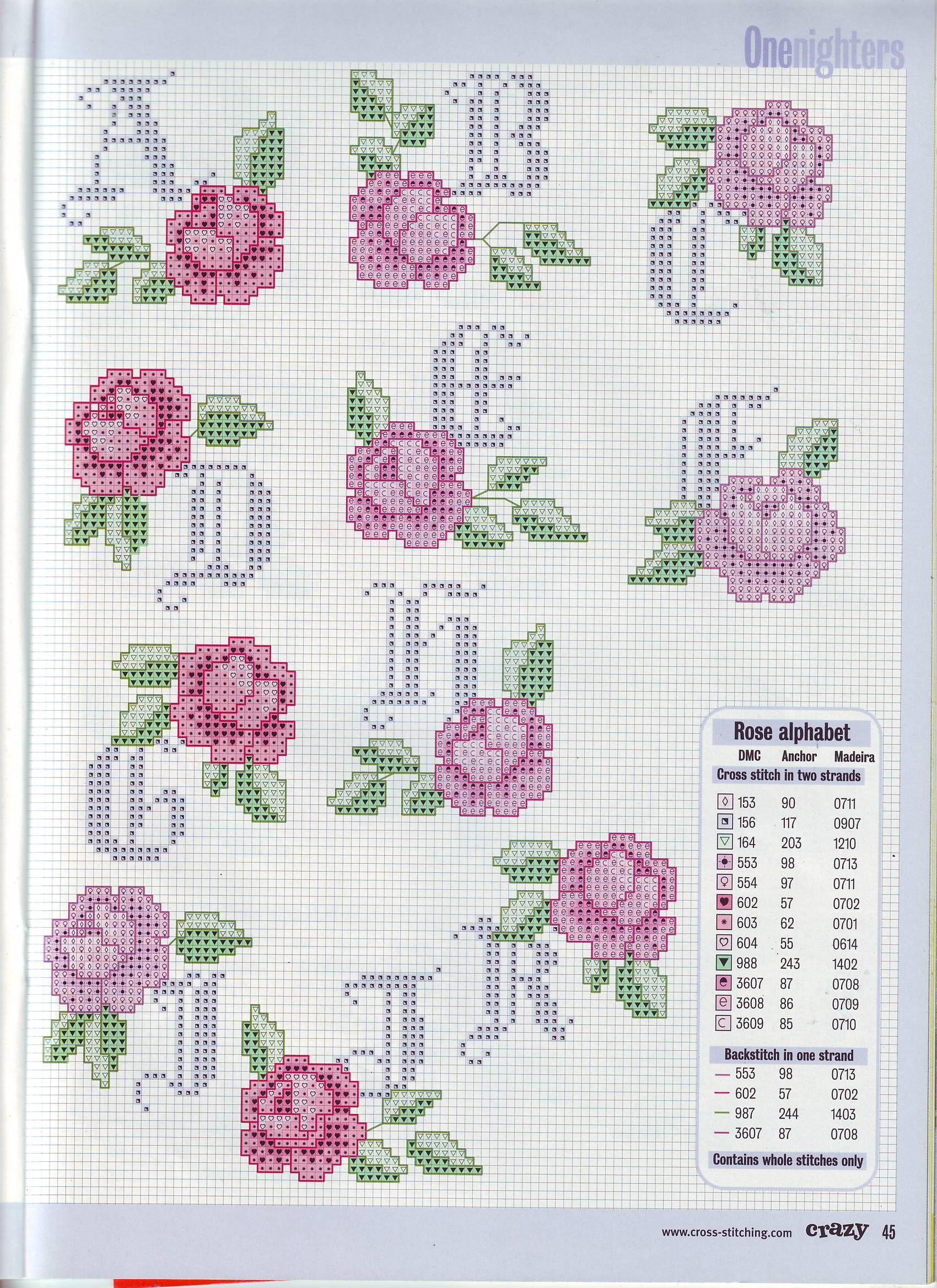 Alfabeto con rose alfabeti vari alfabeto punto croce for Ricamo punto croce lettere