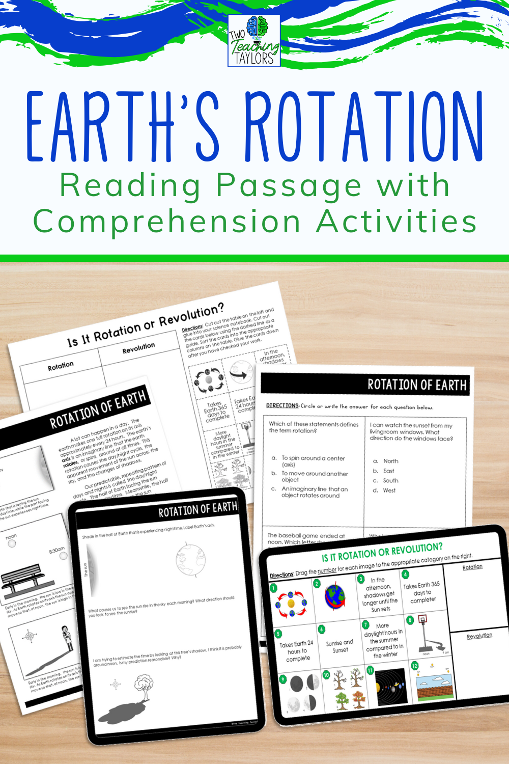 Predownload: Rotation Of Earth Reading Passage With Comprehension Activities Upper Elementary Science Reading Passages Elementary Science Classroom [ 1500 x 1000 Pixel ]