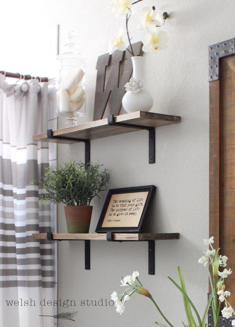Diy Industrial Shelves For The Bathroom Bathroom Shelf