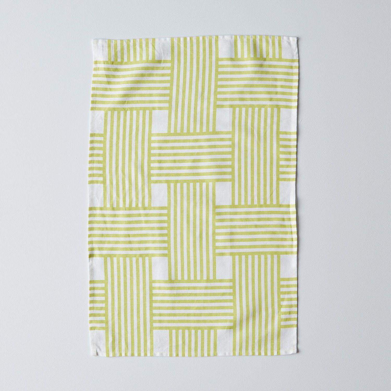 Lattice Stripe Tea Towel Dish Towel Kitchen Linens Studiopatró Shop Food52 Tea Towels Mid Century Design Furniture Dish Towels