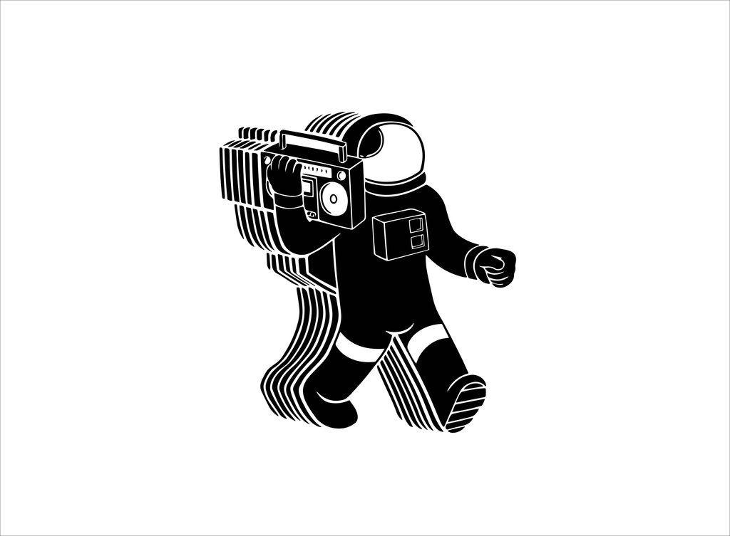 Astronaut Boombox Stencil Template