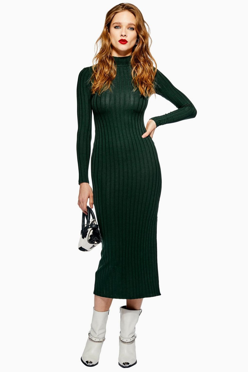 0994f64e28a247 Green High Neck Ribbed Midi Dress - New In Fashion - New In - Topshop Europe