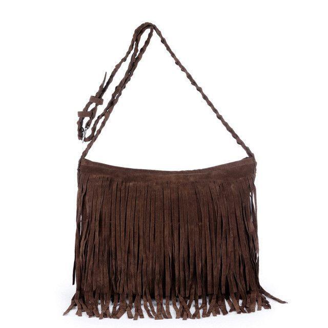 b7832496cb9b JIARUO Autumn Winter Full Suede Fringe Tassel handbag Women Sling Shoulder  Crossbody Messenger bag Hand bag Shopping office