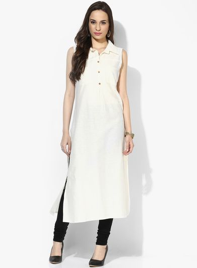 Buy Vedic Off White Solid Linen Kurta for Women Online India, Best Prices,  Reviews