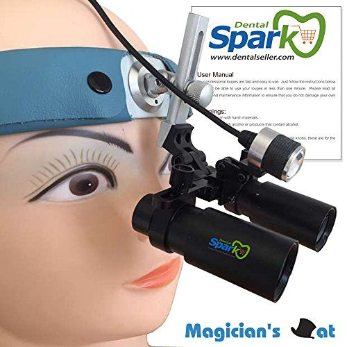 Spark 8.0x Magnification Professional Loupes with Comfortable Headband and Mounted LED Head Light for Dental, Surgical, Jeweler, or Hobby | Adjustable Pupil Distance Model #DM8HBAXSL