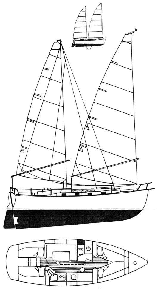 Freedom 35 Cat Ketch Drawing On Sailboatdata Com Sailboat Sailing Yacht Yacht