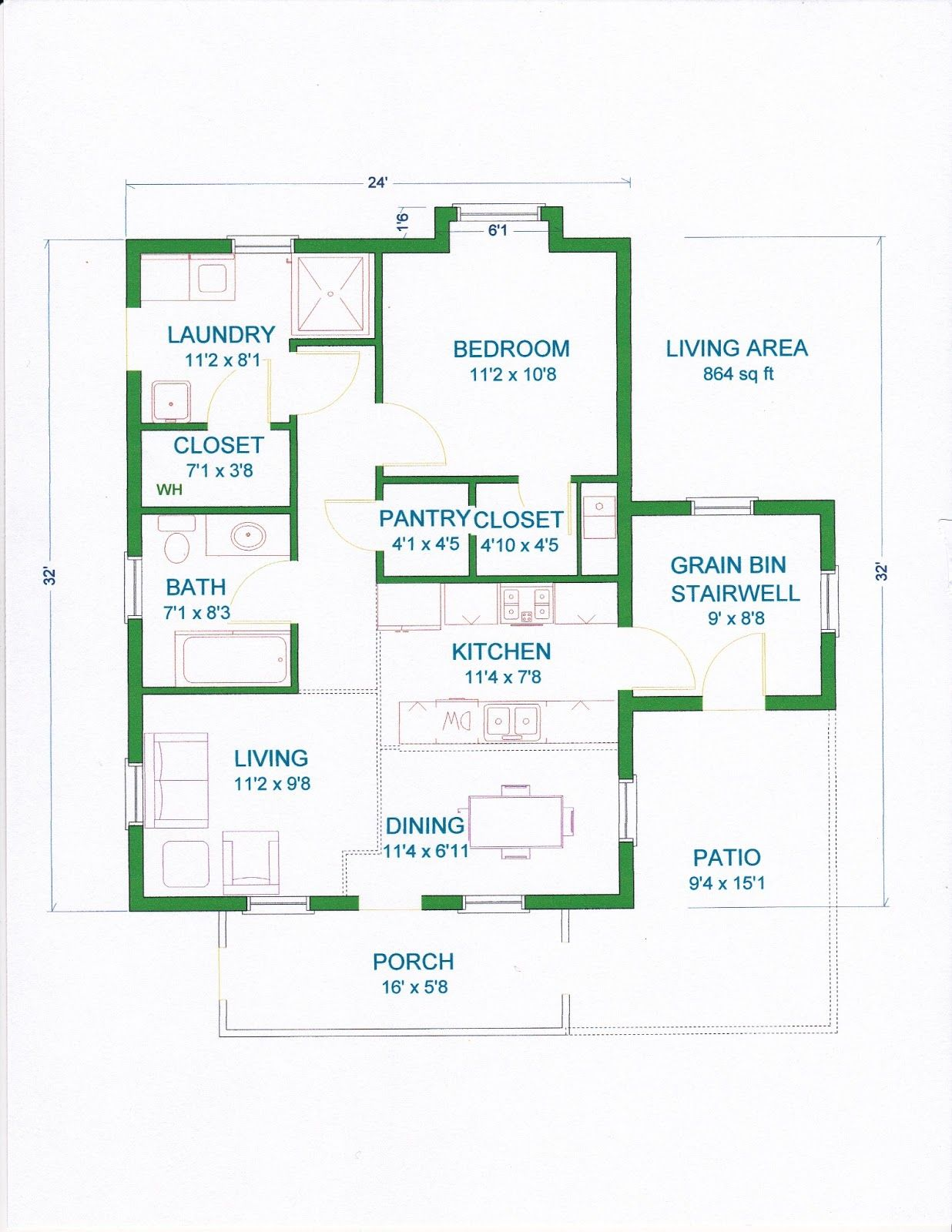 Grama Sue S Floor Plan Play Land Gambrel Barn Home 24 X32 Small House Plans Open Floor House Plans Cabin Plans