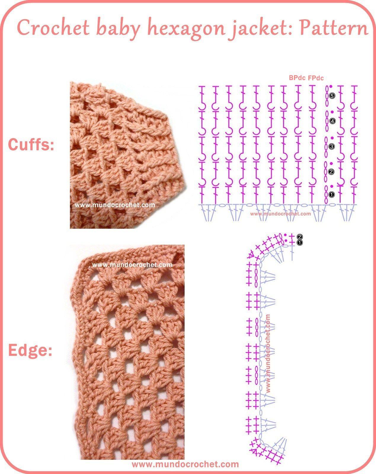 Crochet hexagon jacket / Crochet hexagon sweater | Crochet Charts ...