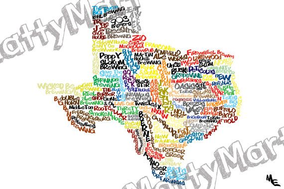 Map Of Texas Breweries.Texas Breweries Typography Map Custom Wall Poster Digital Wall
