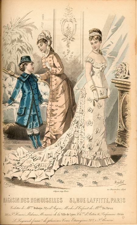 1870s fashion plate for wedding dress